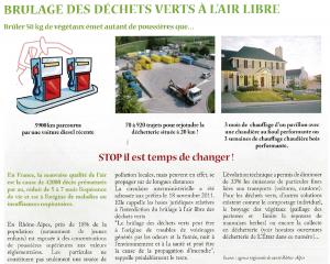 Brulage des déchets verts à l'air libre